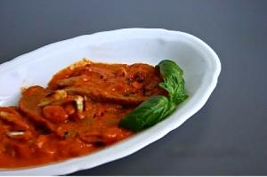 Seitan in crema di peperone e basilico